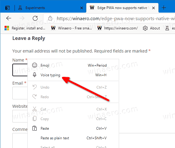 Microsoft Edge现在支持带有本机听写的语音键入